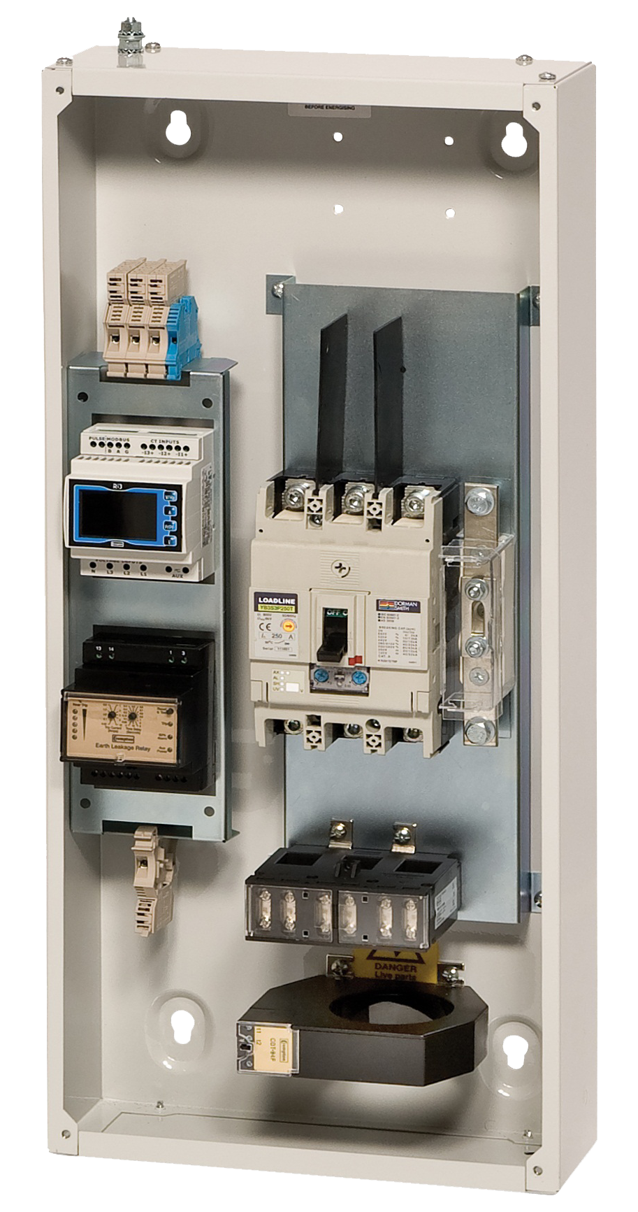 home dorman smith switchgear now available for 16a to 1000a option for integral metering earth leakage protection and mounting of current transformers